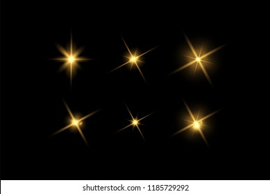 Vector glowing light effects set. Stars bursts with sparkles elements for any image. Transparent stars.