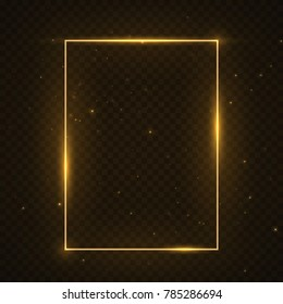 Vector glowing magic square frame. Glowing neon fire wave. Glitter sparkle trail effect on dark transparent background.