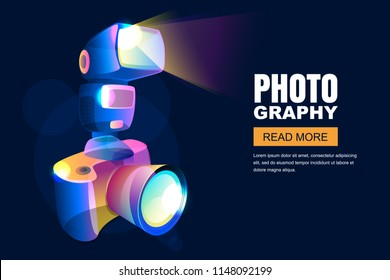 Vector glowing neon 3d style illustration of digital photo camera with flash light. Photo studio or photo goods poster, banner background. Professional photography and equipment concept.