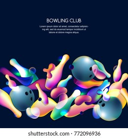 Vector glowing neon bowling background with multicolor 3d bowling balls and pins. Abstract colorful overlapping shapes illustration on black background