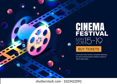 Vector glowing neon cinema festival banner. Film reel in 3d isometric style on abstract night cosmic sky background. Design template with copy space for movie poster, sale cinema theatre tickets.