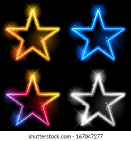 Vector - Glowing Neon Stars Set of Four