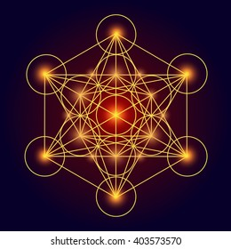 Vector glowing sign. Metatron cube. Flower of life. Pretty