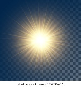 Vector glowing yellow sun with rays on transparent like background. Contains clipping mask.