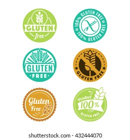 Vector gluten free badges and emblems in color style