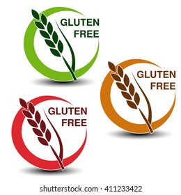 Vector gluten free symbols isolated on white background. Silhouettes spikelet in a circle with shadow