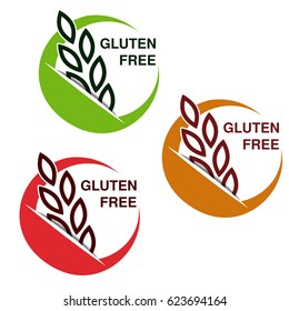 Vector gluten free symbols isolated on white background. Circular stickers with spikelet.