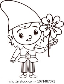 Vector Gnome Character is Holding a Flower (Black and White)