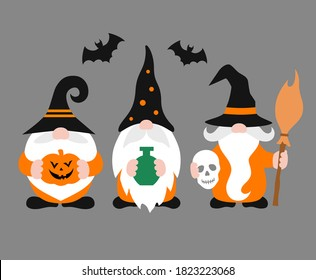 Vector gnomes isolated. Cheerful Halloween gnome with hat and beard. Holiday poster.