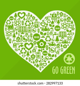 "Vector ""Go Green!"" ecological background with heart shape contained of eco icons"