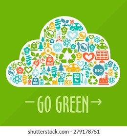 Vector Go Green ecological illustration with cloud shape contained of ecology icons