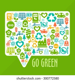 Vector Go Green ecological illustration/ with chat button shape contained of ecology icons