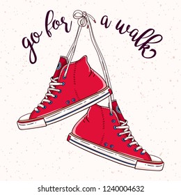 Vector Go for a walk illustration with a hanging pair of vintage red sneakers