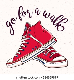 Vector Go for a walk illustration with a pair of vintage red sneakers