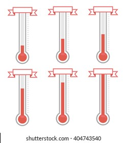 vector goal thermometers at different levels