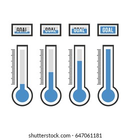 Vector of goal thermometers at different levels. illustration EPS10.
