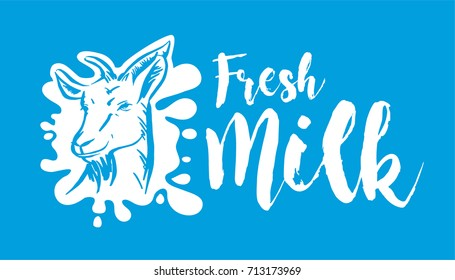 Vector goat fresh milk logo. Dairy products, packaging and advertising.