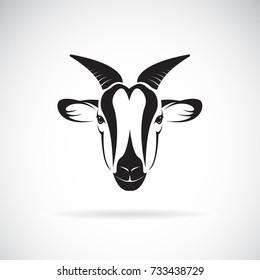 Vector of goat head design on white background. Wild Animals.