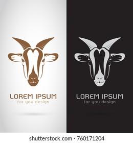 Vector of goat head design on white background and black background, Logo, Symbol, label, Animals