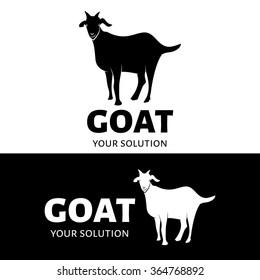 Vector goat logo. Black and white options