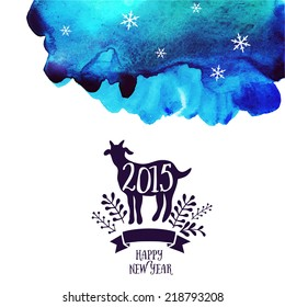 Vector goat. Watercolor background. Symbol of the 2015 year, greeting card with goat. Vector watercolor backdrop. Greeting card 2015. Happy New Year