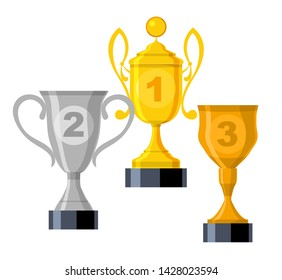 Vector goblets collection. Gold, silver, bronze award isolated on white. Illustration of cup gold goblet, prize and trophy for sport.