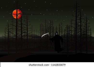 vector god of dead stand on the road on forest and red moon background.halloween bachground