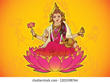 Vector of goddess lakshmi with yellow background and lotus in hand. Navaratri , is a nine nights (and ten days) Hindu festival, celebrated in the autumn every year.