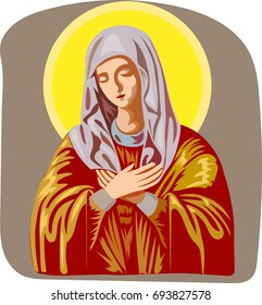 The Vector God's Mother  for T-shirt design or outwear Orthodox.