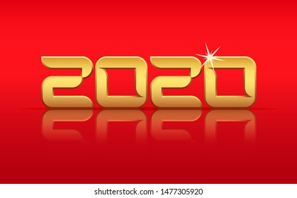 Vector Gold 2020 Year with Reflection on Red Background