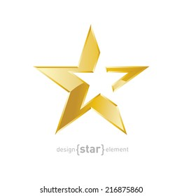 The vector Gold Abstract star on white background. Corporate logo template