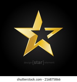 The vector Gold Abstract star on black background. Corporate logo template