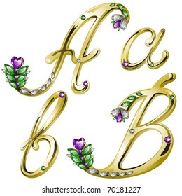 Vector gold alphabet with diamonds and gems letters A, B