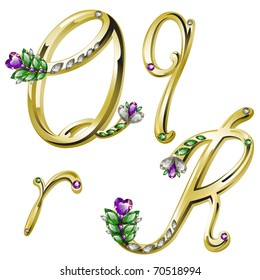 Vector gold alphabet with diamonds and gems letters Q, R