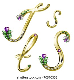 Vector gold alphabet with diamonds and gems letters S, T