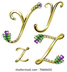 Vector gold alphabet with diamonds and gems letters Y, Z