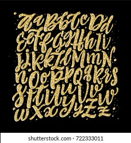 Vector Gold Alphabet Lettering. Abc glitter pattern. Holidays typography background.