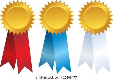 vector gold award ribbons