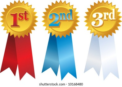 vector gold award ribbons with place numbers