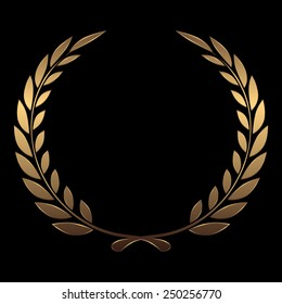 Vector gold award wreaths, laurel on black background vector illustration