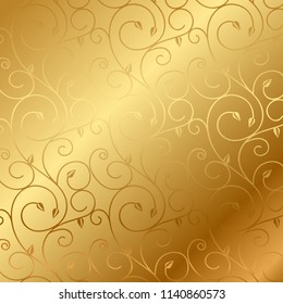 Vector gold background with floral pattern