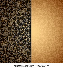 Vector gold background with vintage pattern.