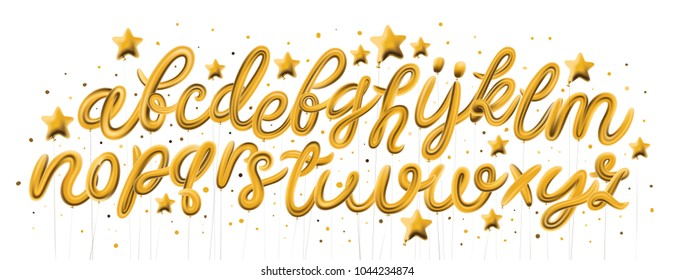 Vector Gold Balloons for Text, Letter, new year, holiday, birthday, celebration.