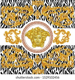 Vector gold baroque zebra pattern. Medusa head Greek keyed border, medusa, leafs motifs with gold ornaments. white background