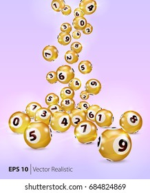 Vector Gold Bingo balls fall randomly on pink background. Lottery Number Balls. Golden balls. Bingo ball. Bingo golden balls with numbers. Realistic vector. Vector illustration.