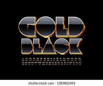 Vector Gold Black Alphabet Letters and Numbers. 3D Elite Font.