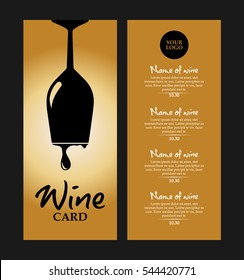 vector gold and black wine card with glass and drops