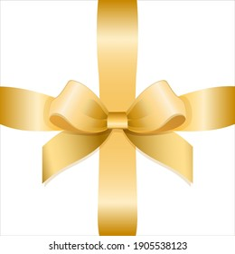 Vector gold bow and gift ribbon. Illustration isolated on white background.