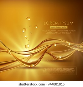 Vector gold brown abstract background with waves and bubbles