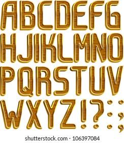Vector gold and brown leather font
